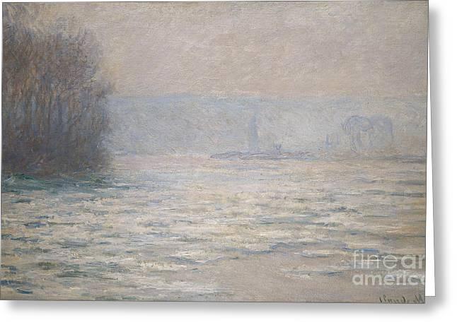 Floods On The Seine Near Bennecourt Greeting Card by Claude Monet