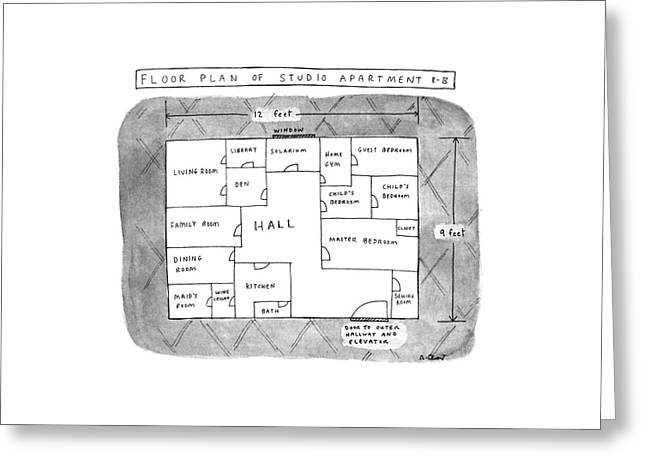 Floor Plan Of Studio Apartment R-b Greeting Card by Roz Chast