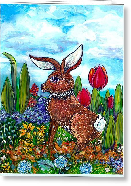 Flop Ear Rabbit Greeting Card by M E Wood