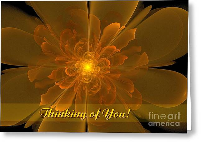 Greeting Card featuring the digital art Flor De La Alegria Thinking Of You by JH Designs