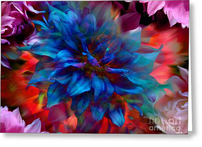 Floral Abstract Color Explosion Greeting Card by Stuart Turnbull