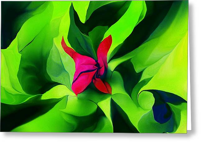 Greeting Card featuring the digital art Floral Abstract Play by David Lane