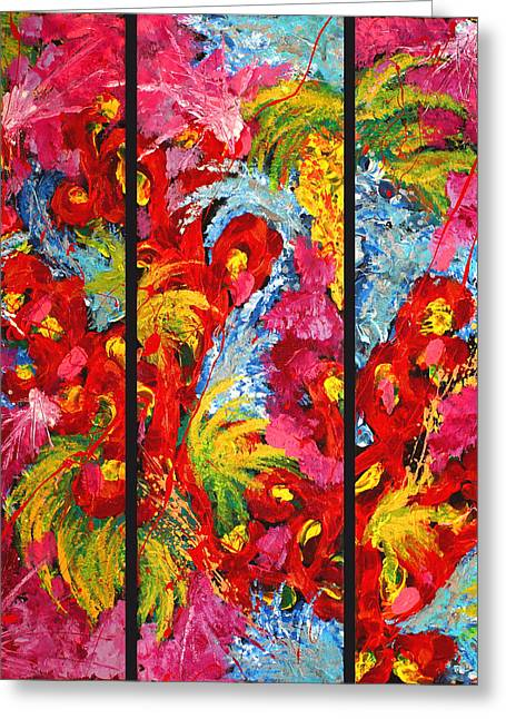 Floral Abstract Triptych On Black Background Greeting Card