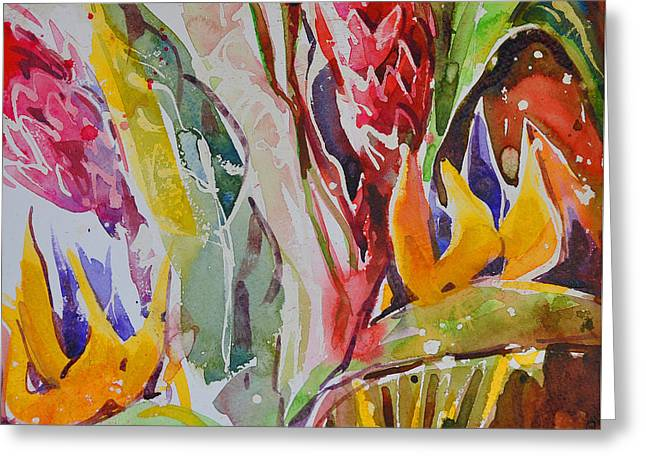 Greeting Card featuring the painting Floral Abstraction by Roger Parent