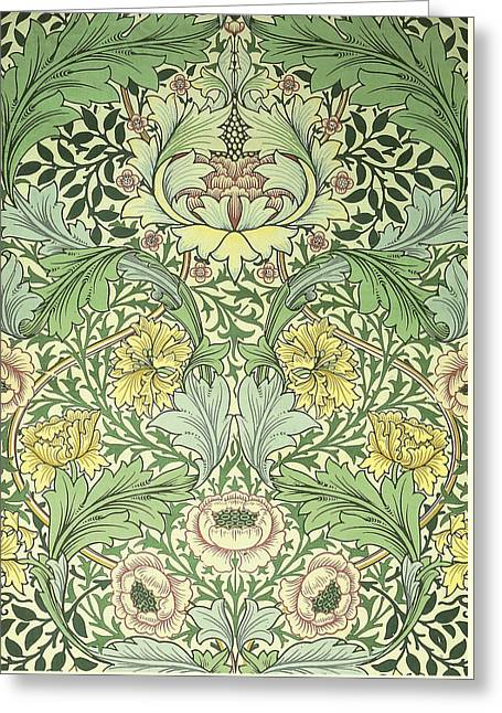Floral And Foliage Design Greeting Card by William Morris