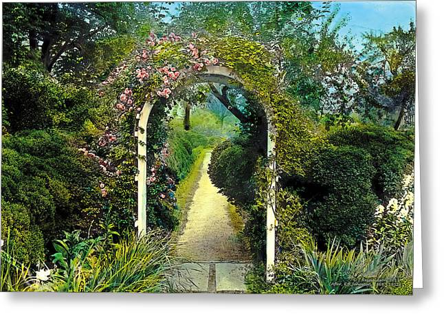 Floral Arch And Path Greeting Card