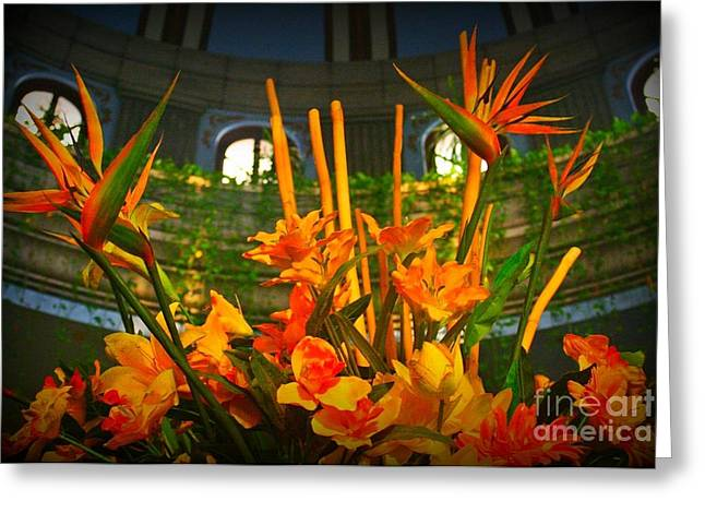 Floral Arragement In Lobby Of The Riu Cancun Hotel Greeting Card by John Malone