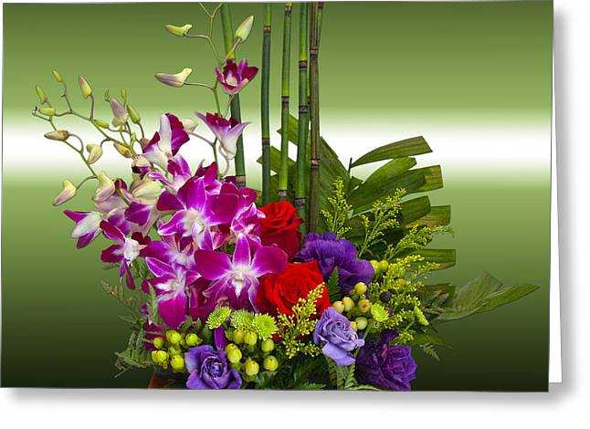 Floral Arrangement - Green Greeting Card by Chuck Staley