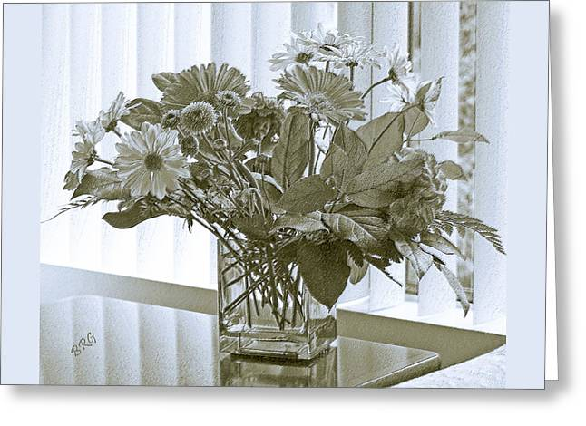 Floral Arrangement With Blinds Reflection Greeting Card