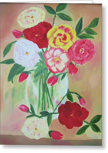 Floral Bouquet Greeting Card by Edna Fenske