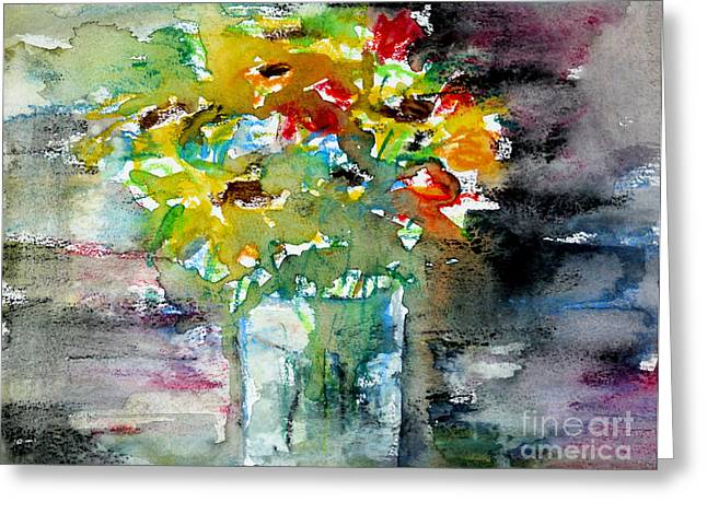 Floral Bouquet In Water Glass Greeting Card by Almo M