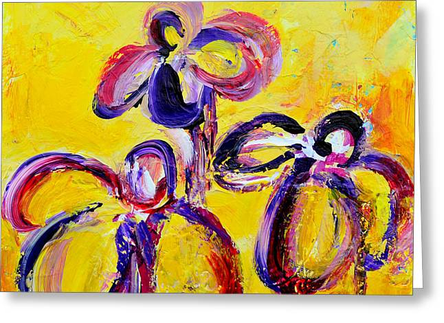 Abstract Flowers Silhouette No 9 Greeting Card by Patricia Awapara