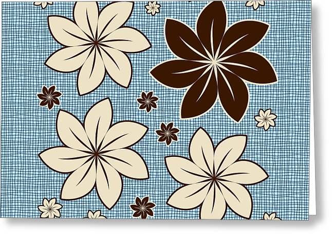 Floral Design On Blue Greeting Card by Gaspar Avila