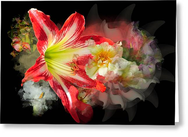 Greeting Card featuring the digital art Floral Explosion by Davina Washington