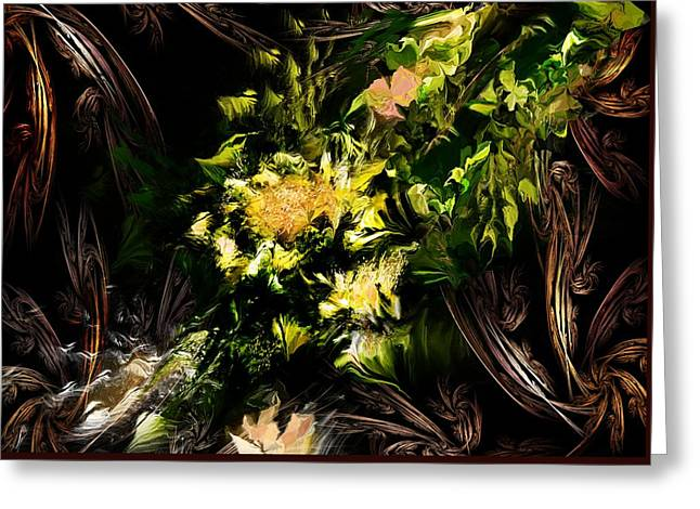 Greeting Card featuring the digital art Floral Expression 020215 by David Lane