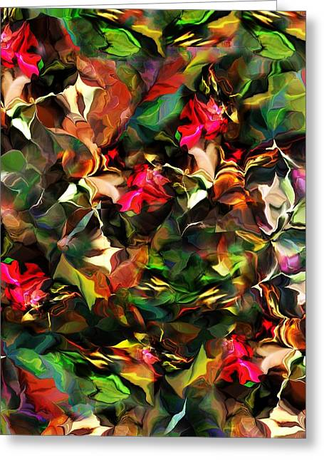 Greeting Card featuring the digital art Floral Expression 121914 by David Lane