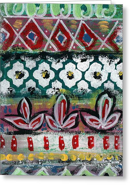 Floral Fiesta- Colorful Pattern Painting Greeting Card by Linda Woods