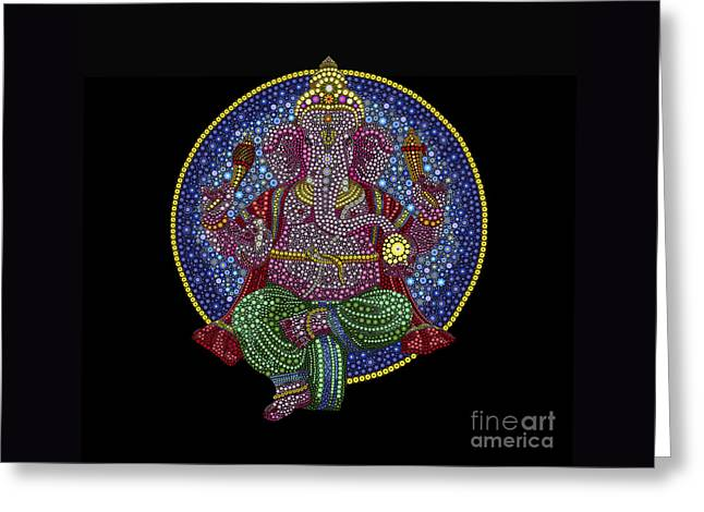 Floral Ganesha Greeting Card by Tim Gainey