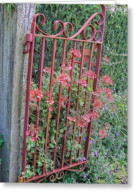 Floral Garden Gate Greeting Card by Linda Phelps