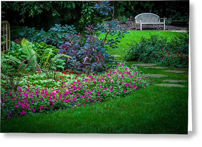 Floral Garden Walk And Park Bench Greeting Card