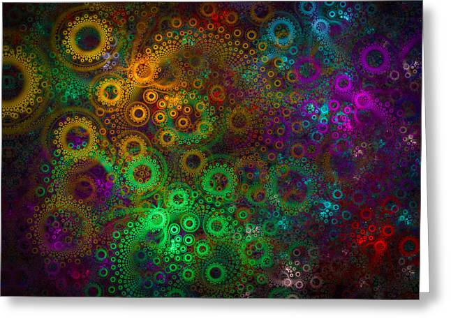 Floral Gear Wheels Abstract Fractal Art Green Orange Purple Red Blue Greeting Card by Matthias Hauser