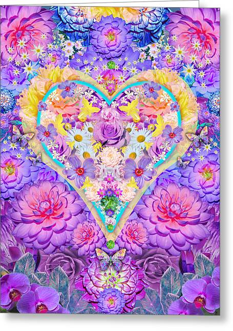 Floral Heart Springtime Greeting Card by Alixandra Mullins