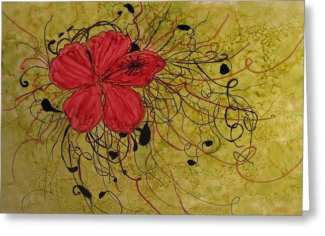 Floral Scrolls Greeting Card by Linda Brown