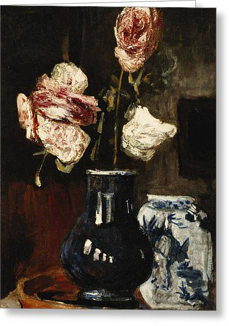 Floral Still Life Greeting Card by Roderic O Conor