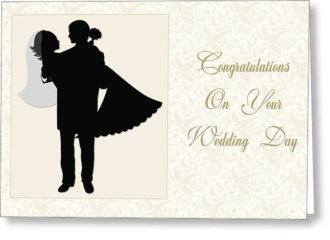 Greeting Card featuring the digital art Floral Wedding Couple by JH Designs