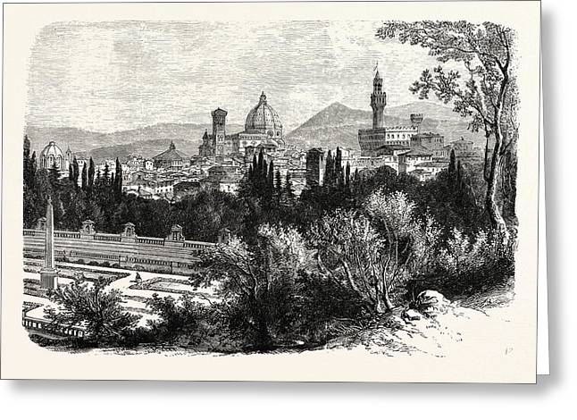 Florence From The Boboli Gardens Greeting Card by English School