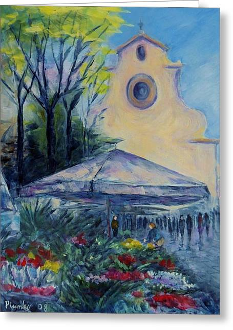 Florence Italy Piazza Santo Spirito Greeting Card by Phyllis Plumley