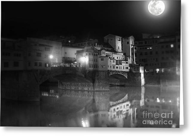 Florence Italy - Ponte Vecchio At Night Greeting Card by Gregory Dyer