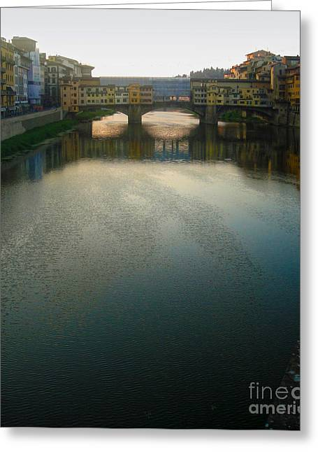 Florence Italy - Ponte Vecchio - Sun Rise Greeting Card by Gregory Dyer