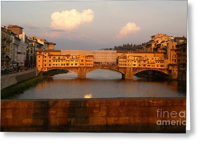 Florence Italy - Ponte Vecchio - Sunset - 01 Greeting Card by Gregory Dyer