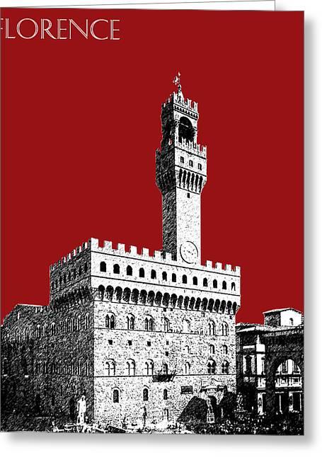 Florence Skyline Palazzo Vecchio - Dark Red Greeting Card