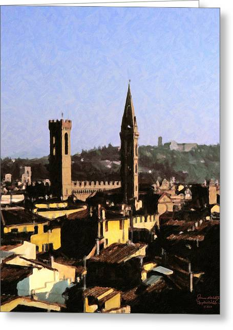 Florence Towers Greeting Card by Spyder Webb