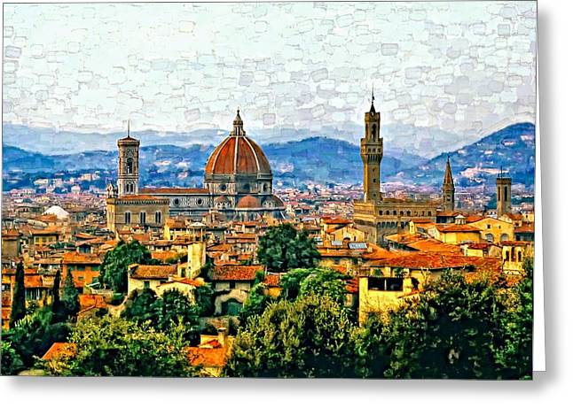 Florence Watercolor Greeting Card by Steve Harrington
