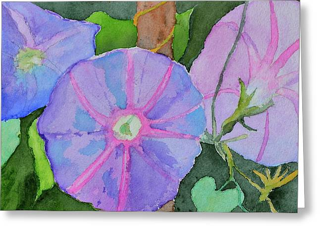 Greeting Card featuring the painting Florence's Morning Glories by Beverley Harper Tinsley