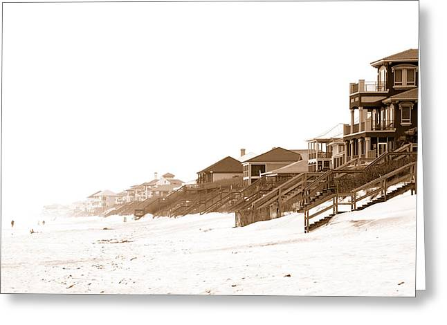 Florida Beach Sepia Print Greeting Card