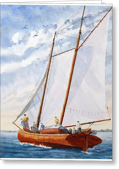 Florida Catboat At Sea Greeting Card by Roger Rockefeller