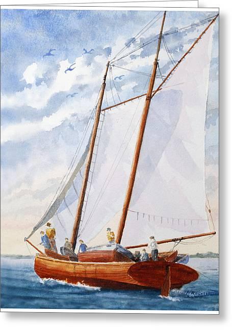 Florida Catboat At Sea Greeting Card