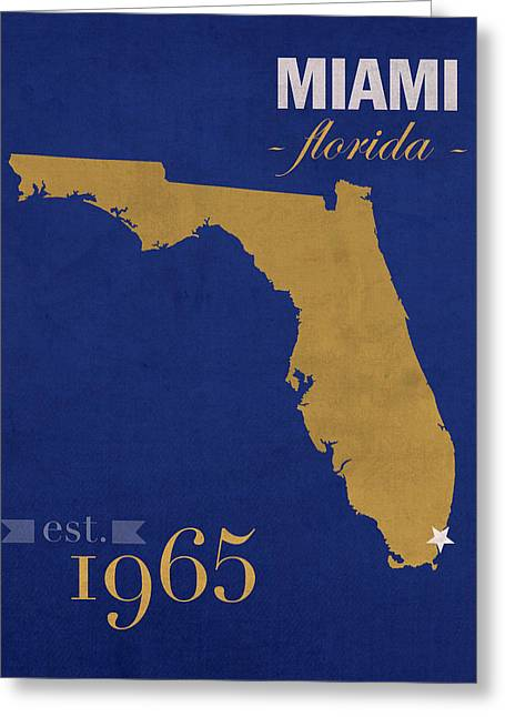 Florida International University Panthers Miami College Town State Map Poster Series No 038 Greeting Card by Design Turnpike