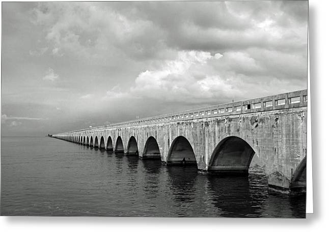 Florida Keys Seven Mile Bridge Black And White Greeting Card