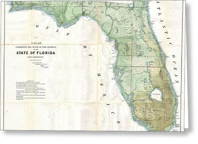 Florida Land Platt Map 1853 Greeting Card