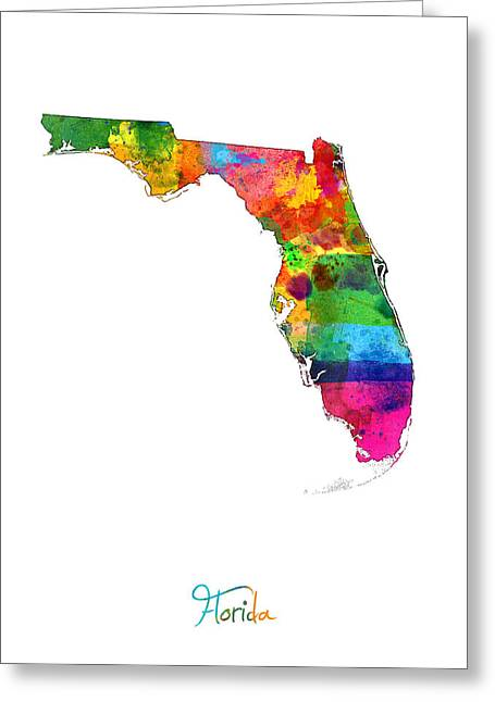 Florida Map Greeting Card by Michael Tompsett