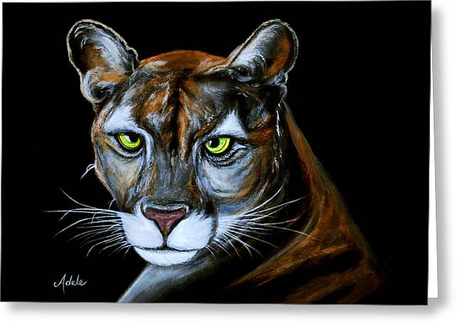 Florida Panther Jeremiah Greeting Card by Adele Moscaritolo