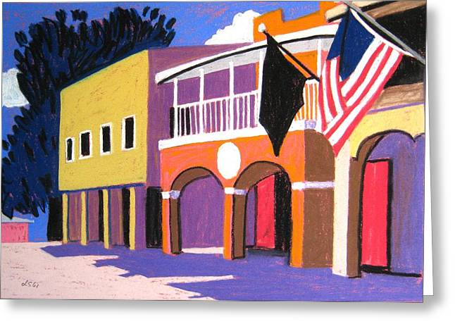 Florida Pass A Grille Downtown Greeting Card by Lesley Giles