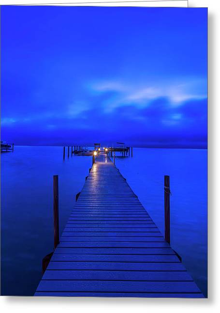 Florida, Sanibel, Private Dock At Dawn Greeting Card