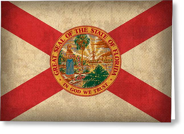 Florida State Flag Art On Worn Canvas Greeting Card by Design Turnpike