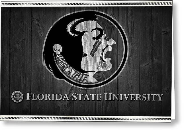 Florida State University Black And White Barn Door Greeting Card